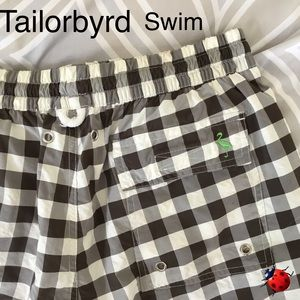 Tailorbyrd Brown Check Men's Swim Trunks FITS SZ M